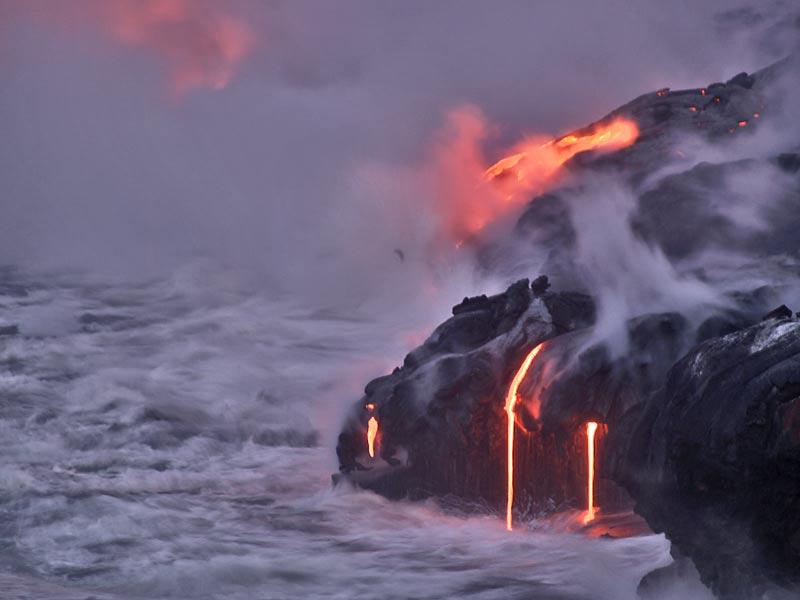 Volcano flowing in ocean